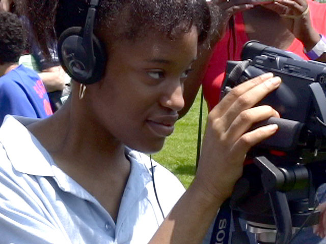 A member of the Empowered Fefe's makes a video with Beyondmedia Education